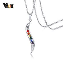 Vnox Slim Wave Rainbow Stones Pendant for Men Women Stainless Steel CZ Stone Jewelry Casual Unisex Jewelry(China)