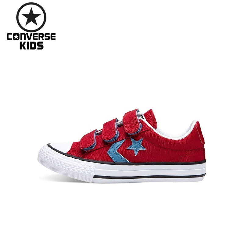 CONVERSE KIDS Children's Shoes Red Star Arrows Hook&Loop Low Help Magic Subsidies Canvas Shoes #660741C-H converse kids shoes black star arrows low help magic subsidies canvas shoes 660743c h