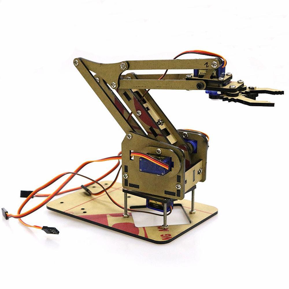 Dominbot DIY 4DOF para Arduino acrílico RC Robot agarrador de brazo Kit educativo con MG90S Servos