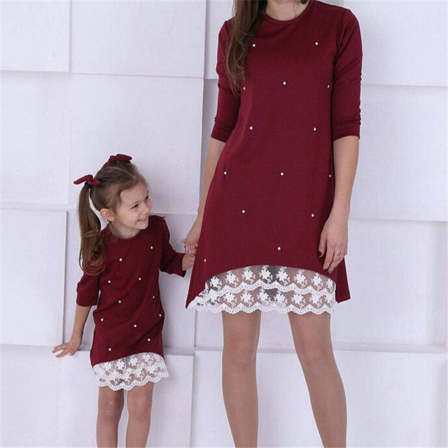 2019 Mommy and me family matching mother daughter dresses clothes solid mom and daughter pearl dress kids parent child outfits 2