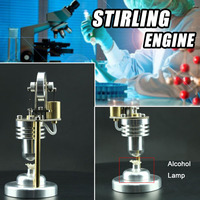 Mini Vertical Hot Air Stirling Engine Model Alcohol Lamp Engine Model Physics Experiment School Educational Equipment Supply