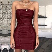 59dfd559af Mujer Sexy vestido Bodycon cadera Falda tubo Top sin tirantes Fiesta Club  Mini vestido(China