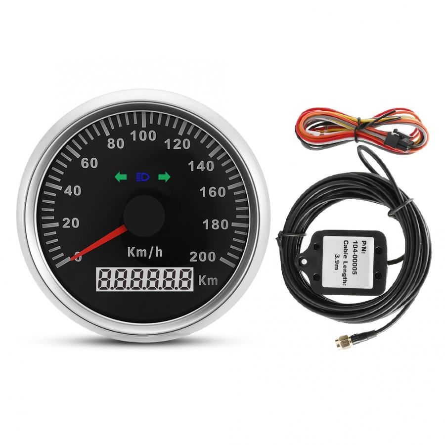 Universal GPS Speedometer 85mm 200km/h 12V/24V Car Truck Motorcycle GPS Speedometer Odometer Meter Gauge With Backlight