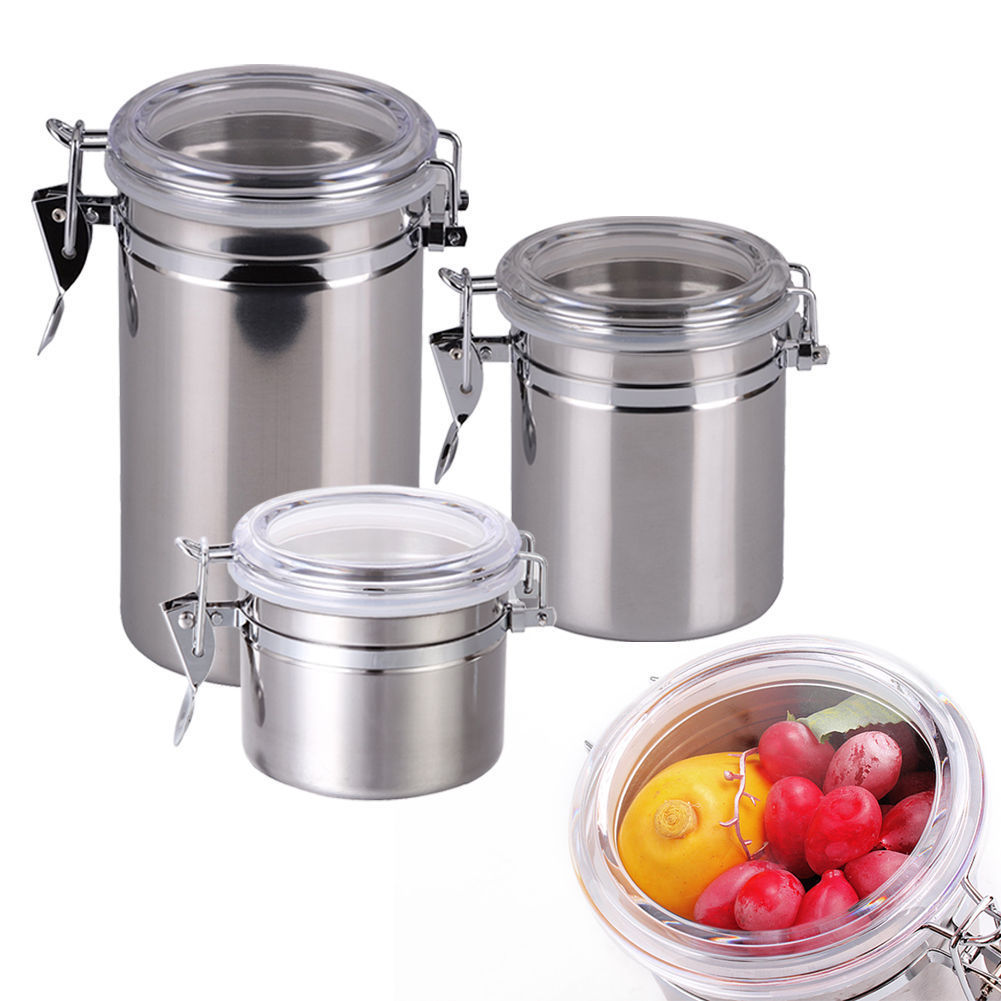 New Stainless Steel Airtight Sealed Canister Coffee Flour Sugar Tea Container Kitchen Storage Bottles Jars Boxes