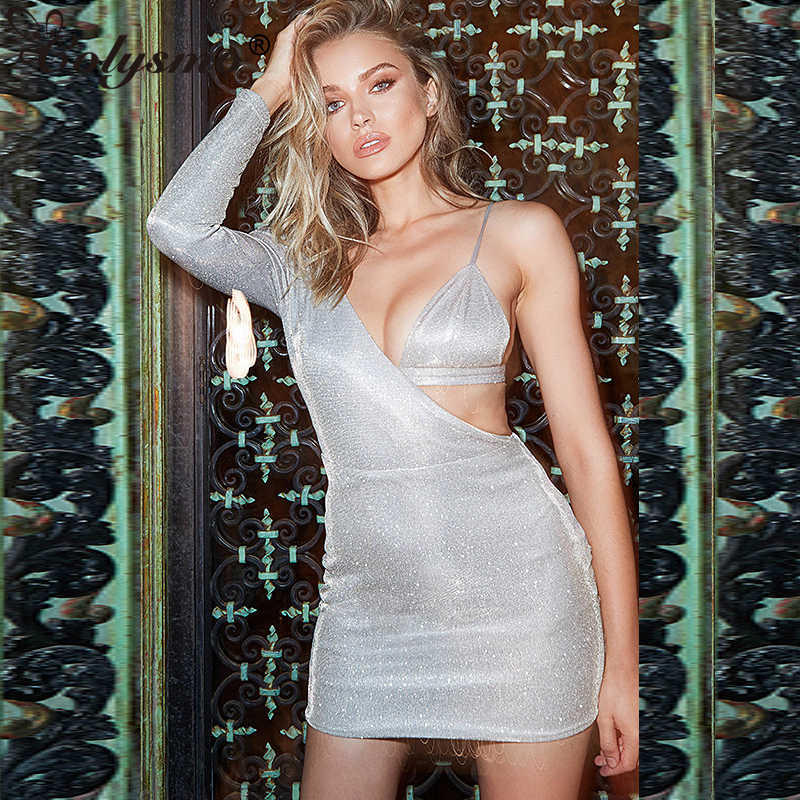 Colysmo Shiny Silver One Shoulder Open Bra Sexy Dress Women Long Sleeve  Club Party Dress Fake 7df41ba702ad