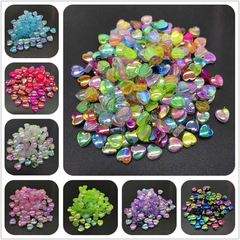 100pcs 8mm Acrylic Spacer Beads Heart-shaped Charm Transparent Rainbow Color Beads For Jewelry Making DIY Jewelry Accessories