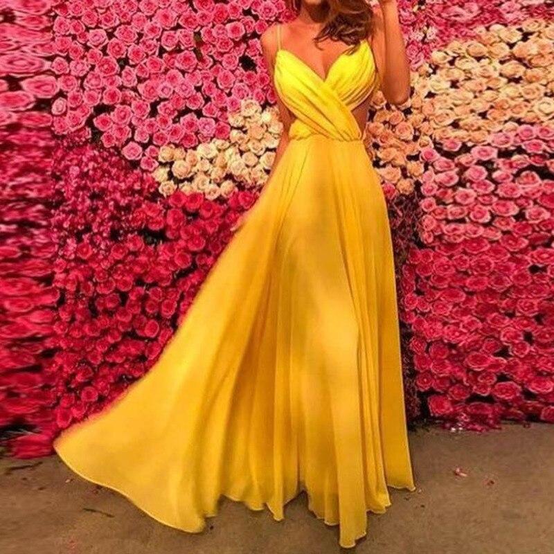 d89120d3b0b Verano amarillo chiffon vestido largo vestidos kleider vestidos de fiesta  sexy ropa mujeres ropa traje mujer vestidos sin espalda elegante -  a.atouchofgold. ...
