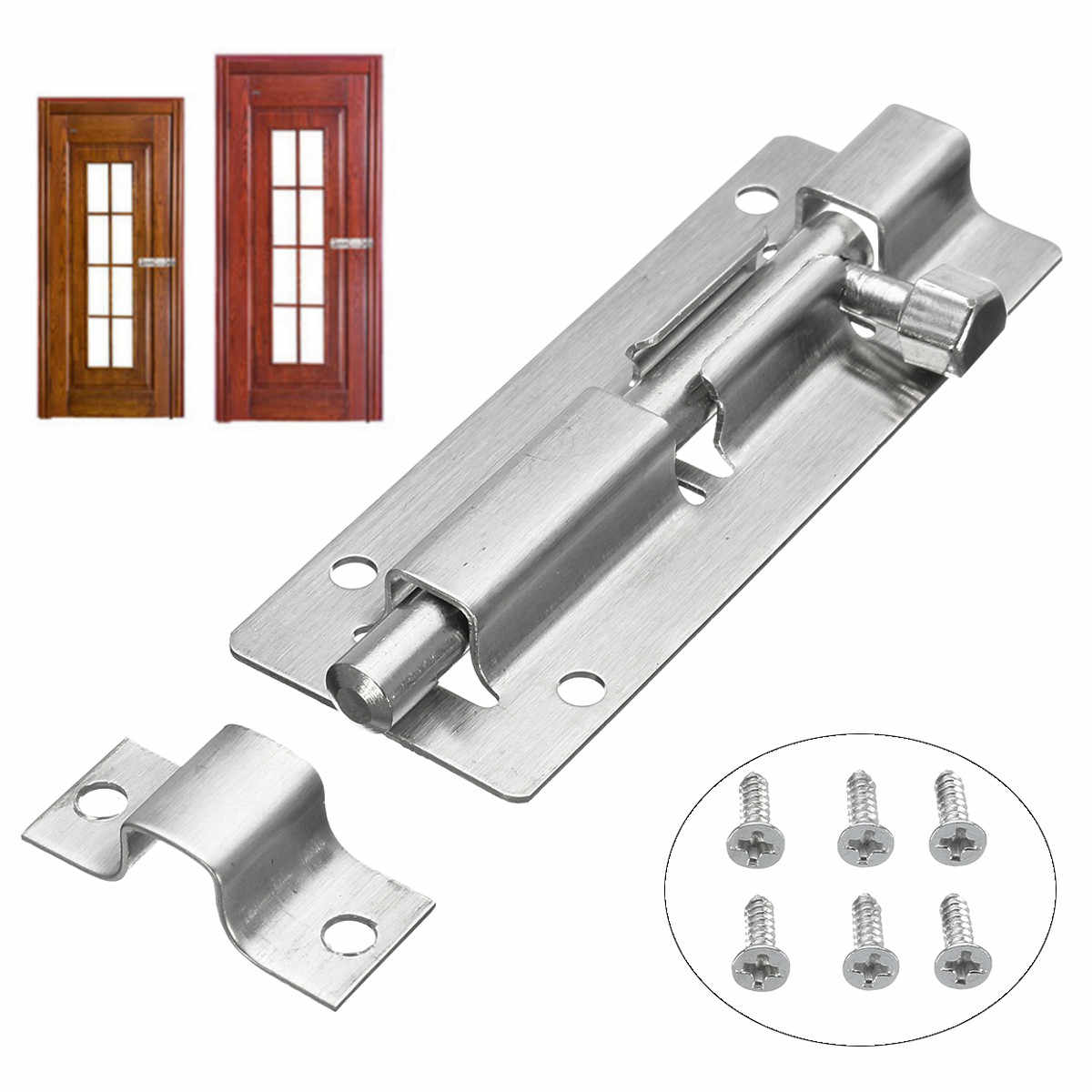 3inch Door Lock Set Home Gate Safety Door Slide Bolt Door Locker for Window Drawer Cupboard Locking Bathroom Bedroom Catch Latch