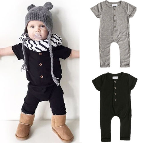 0-24M Infant Baby Boy Girl Romper Climbing Clothes Short Sleeve O-neck Soild Jumpsuit Playsuit Outfits Black Grey Available