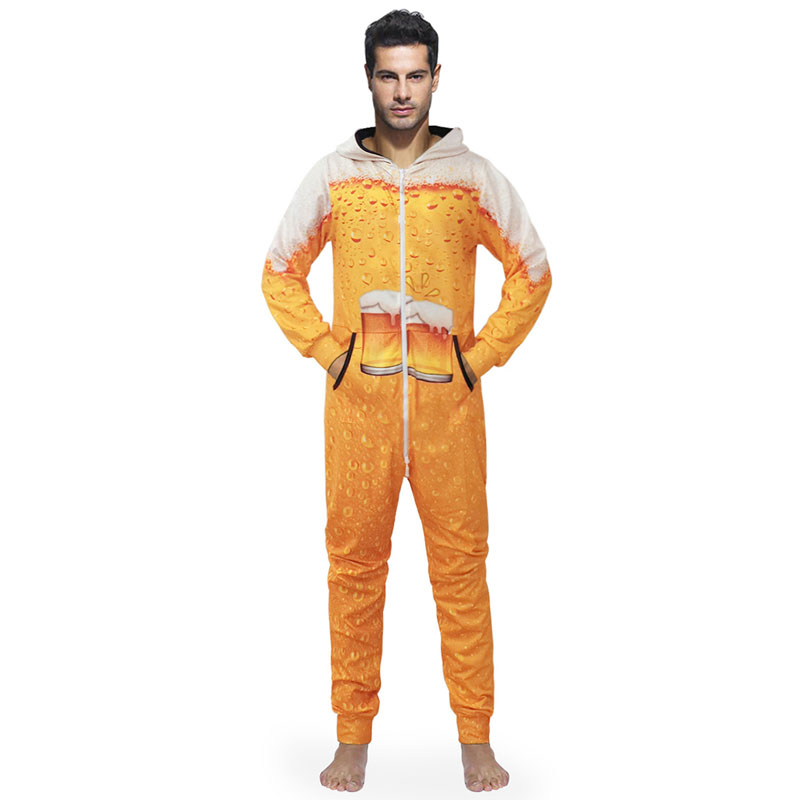 Men Onesies Hooded 3D Printing Pajamas Costume Cosplay Beer Creative Rompers Sleepwear Mens Onesies