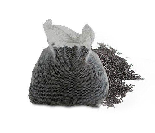 Material de filtro de acuario de 150G de carbón súper activado en bolsa de red