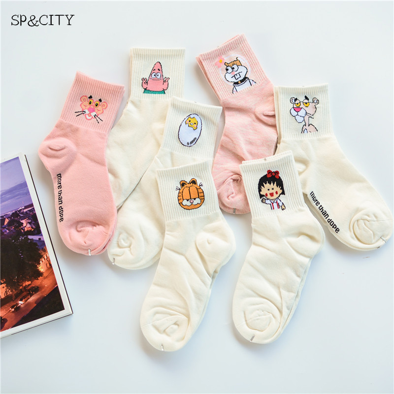 Women Cartoon Character Cotton Socks Art Female Character Patterend Short Cute Socks Hipster Fashion Animal Print Ankle Socks