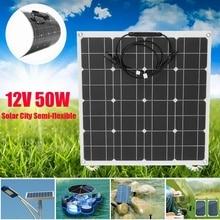 Гибкая панель солнечных батарей 12 в 50 Вт солнечное зарядное устройство для автомобиля батарея зарядки 18 в монокристаллический сотовый модуль для Hause, крыша, лодка