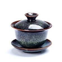 Celadon Porcelain Gaiwan China Teacups Crackle Glaze TeaPot Drinkware ru kiln celadon ice veins китайский набор для путешествий на китайский чай kungfu gaiwan и two teacups