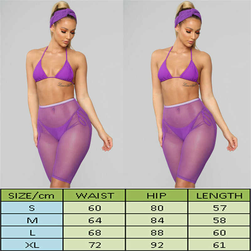 d2d7a94e73 ... Sexy Women See-through Shorts Bikini Cover Up Mesh Solid Sheer Trousers  Bottoms Swimsuit Swimwear