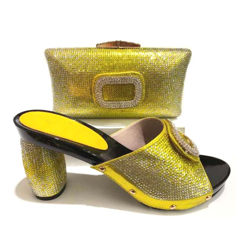 GL-365 Italian yellow Shoes with Matching Bags Set African Matching Shoes and Bags Italian In Women uk Shoe and Bag цена