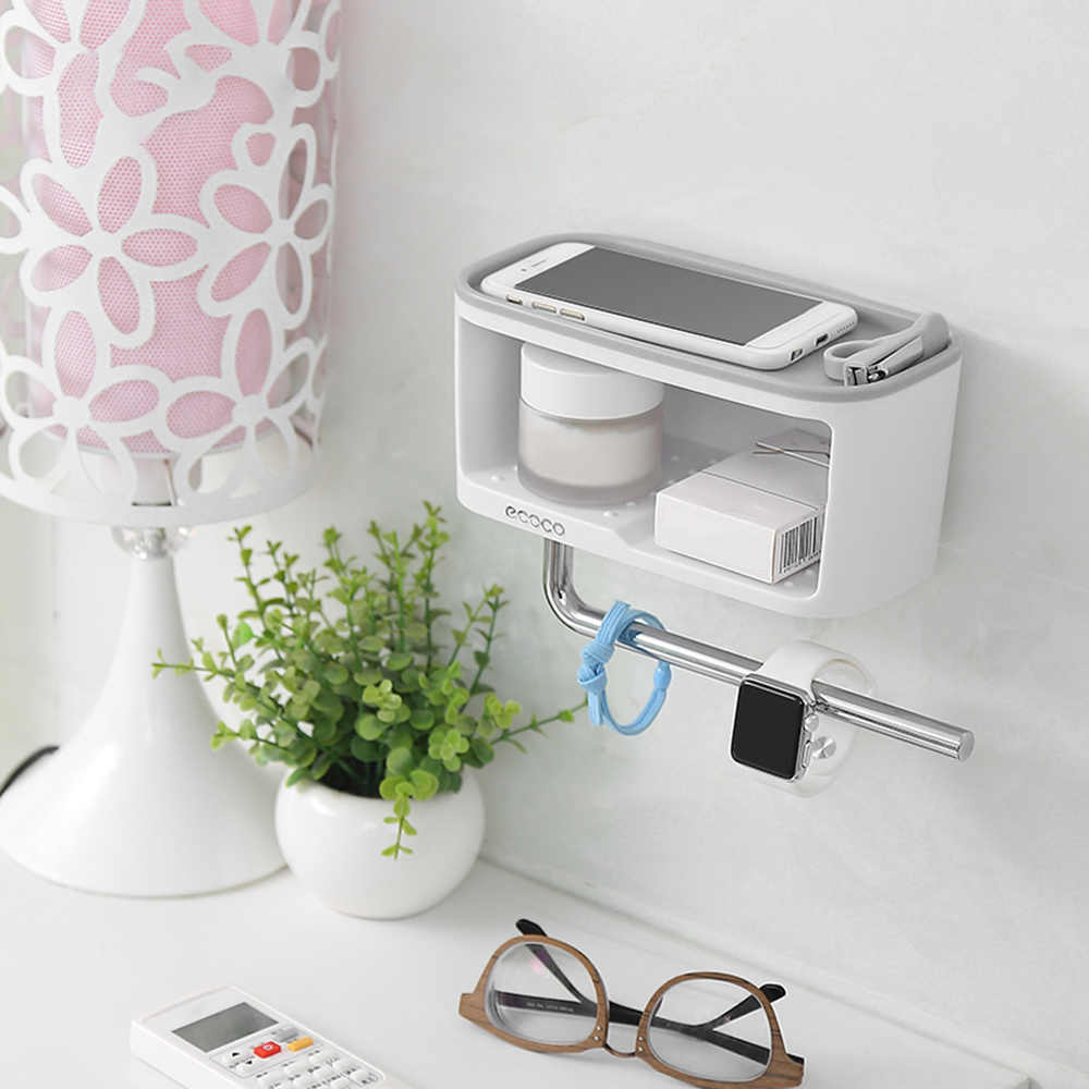 ecoco Wall Mounted Bathroom Storage Shelve Kitchen Storage Box with Towel Bar Roll Paper Hanger Home Space Saving Organizer