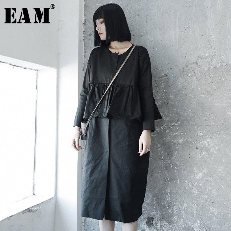 EAM 2019 New Spring Summer Round Neck Long Sleeve Black Ruffles Split Joint Loose Cake