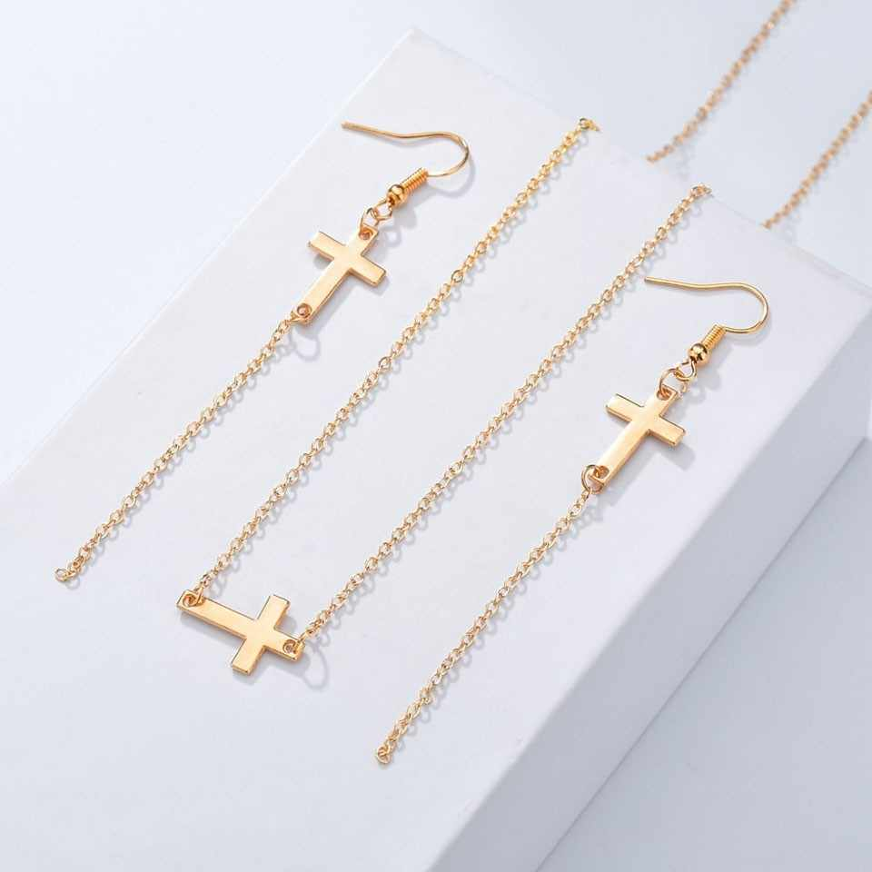 Qiao La New Big Promotion Great Elegant Cross Design For Women's Jewelry Sets Popular High Quality Engagement Jewelry Sets