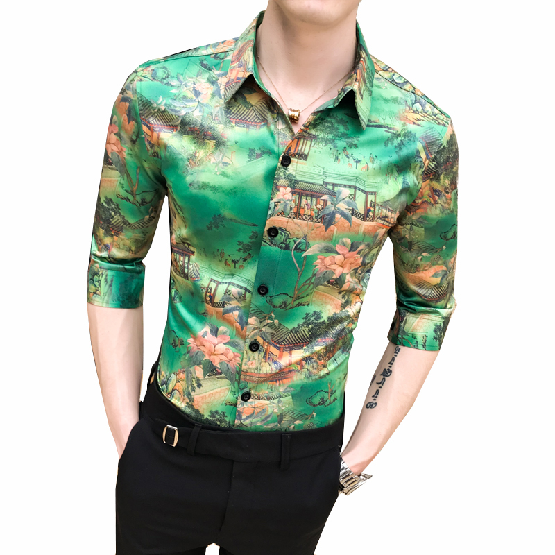 Image 5 - High Quality Fashion Summer Slim Fit Dress Shirts Male Half Sleeve Print Hairstylist Work Shirt Man New Pattern Tuxedo Shirt Men-in Casual Shirts from Men's Clothing