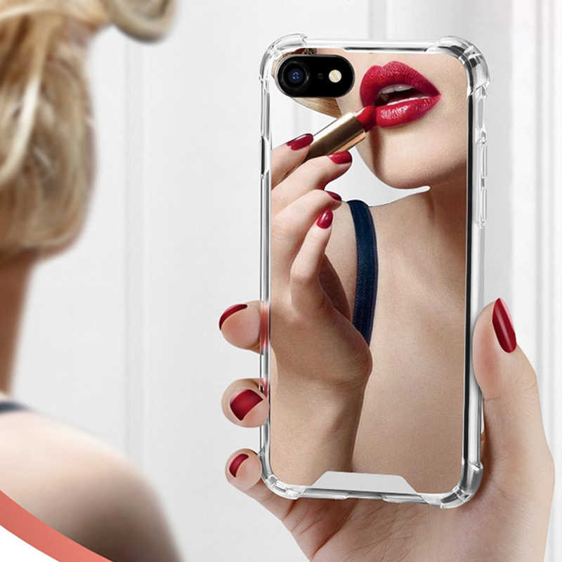 Luxury Mirror case For iphone XS Max XR Cover silicone soft TPU shockproof case for iPhone 6 6s 8 7 plus X coque women makeup