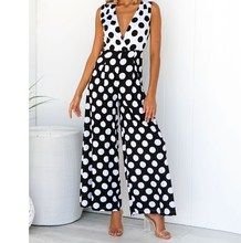 2019 Sexy Sleeveless Jumpsuit Women Long  Summer Dot Bodysuit Trousers Beach Overalls Playsuit