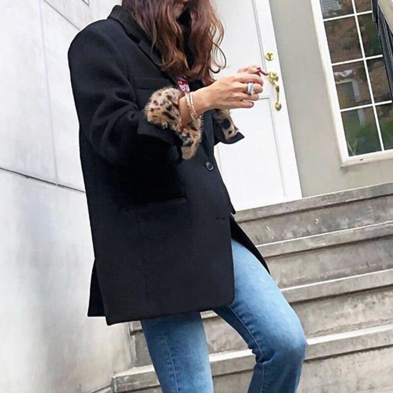 Couleur Manteau Gris white down Printemps Turn Poches Lâche Le858 Poitrine Longues Hiver eam Black À Unique Collar Manchette Manches gray 2019 Femme Léopard CIUwvxvqX
