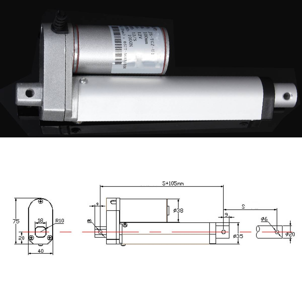 """Image 5 - DC 12V Electric Linear Actuator 1000N 50 500mm Stroke Linear Motor Controller 12mm/s Electric Bracket 2""""/4""""/6""""/8""""/16""""/20""""-in DC Motor from Home Improvement"""