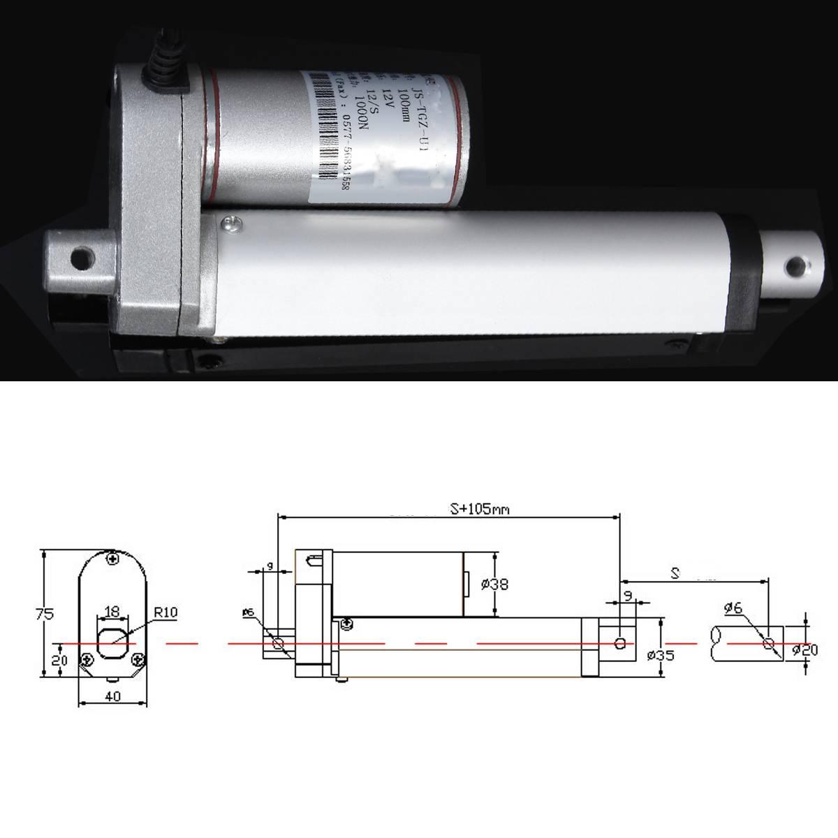 500mm Stroke DC 12V 900N Linear Actuator Electric Bracket 12mm//s