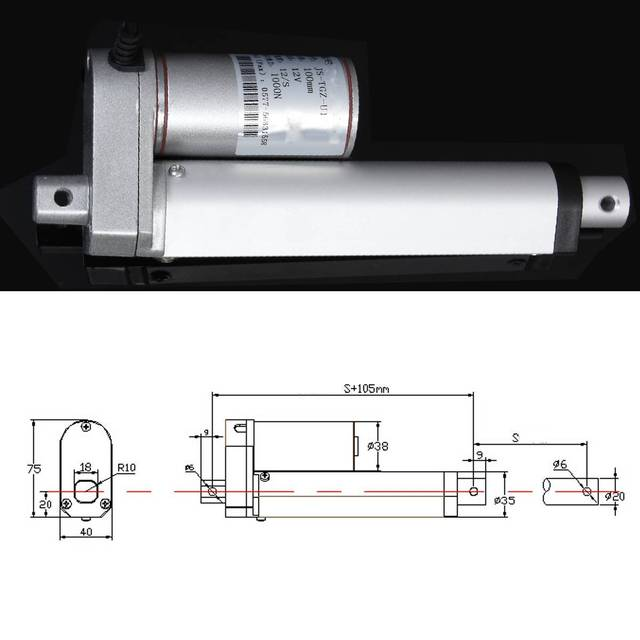 DC 12V Electric Linear Actuator 1000N 50-500mm Stroke Linear Motor Controller 12mm/s Electric Bracket 2″/4″/6″/8″/16″/20″