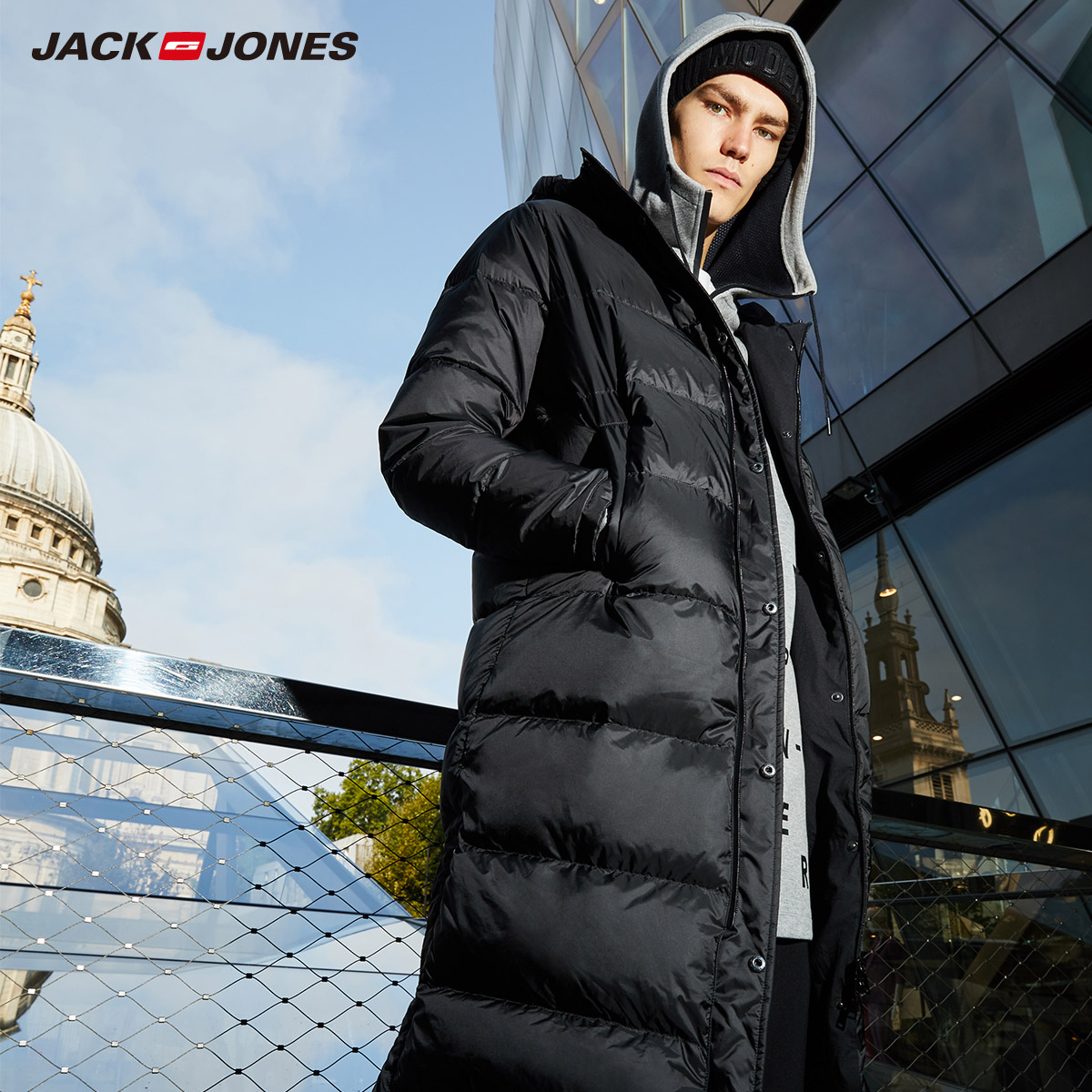 JackJones для мужчин зимние длинные с капюшоном уличная одежда мужской повседневное модные пуховые куртки пальто swear | 218312528