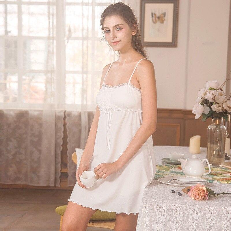 2019 Pink Cute   Nightgown   Woman Spring Summer   Nightgowns   Lace Sleepwear Modal Cotton   Sleepshirts   Princess White Nightdress