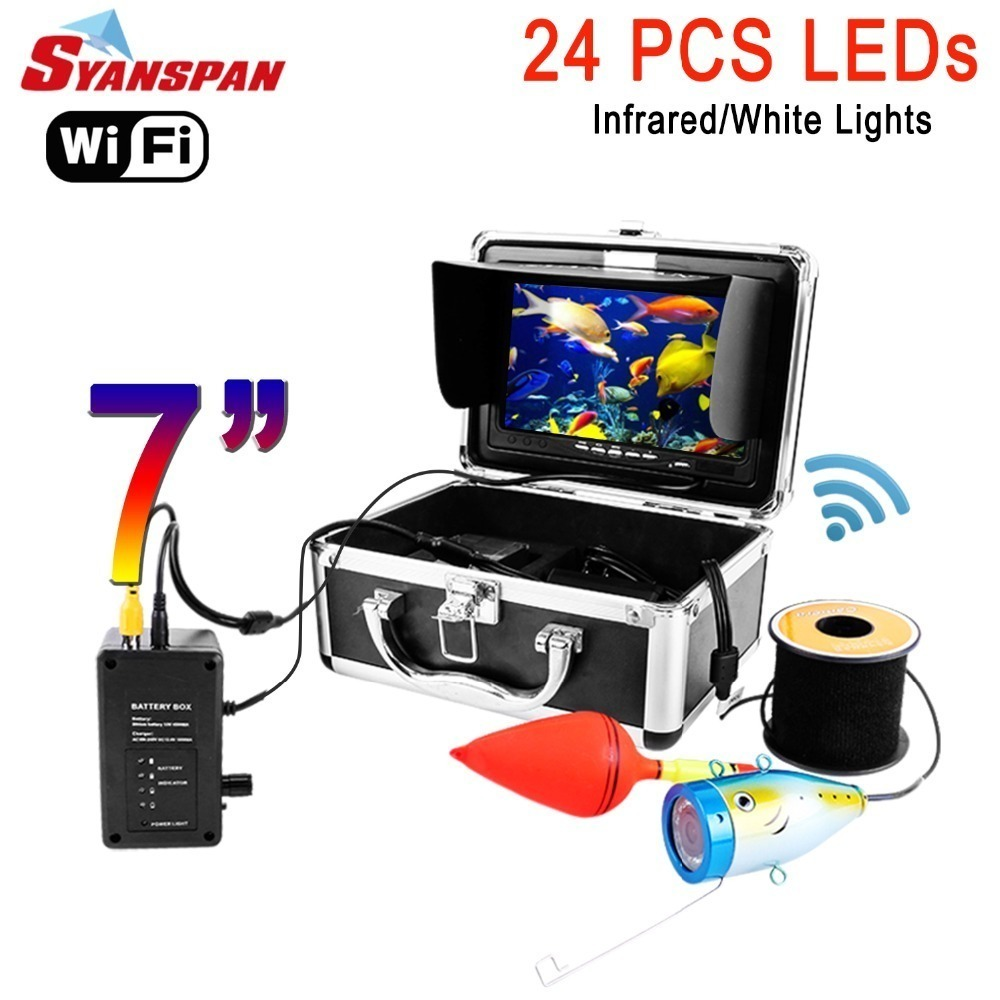 SYANSPAN 7 WiFi Fish Finder Video Camera Recording Edition IP68 HD 1000TVL Underwater Ice Fishing Camera