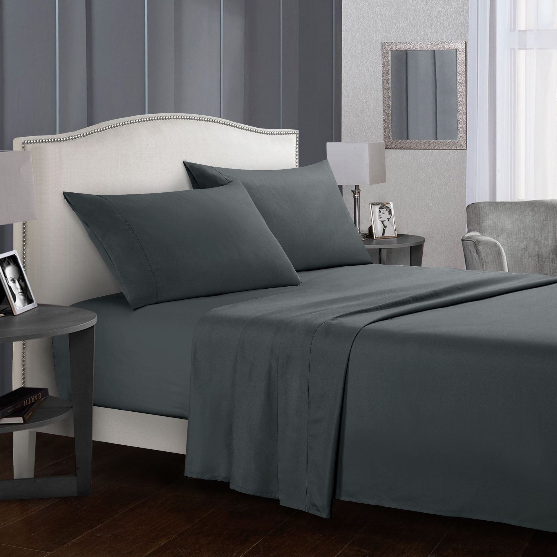 Pure Color Bedding Set Bed Linens Flat Sheet Fitted Sheet Pillowcase Queen King Size Gray Soft