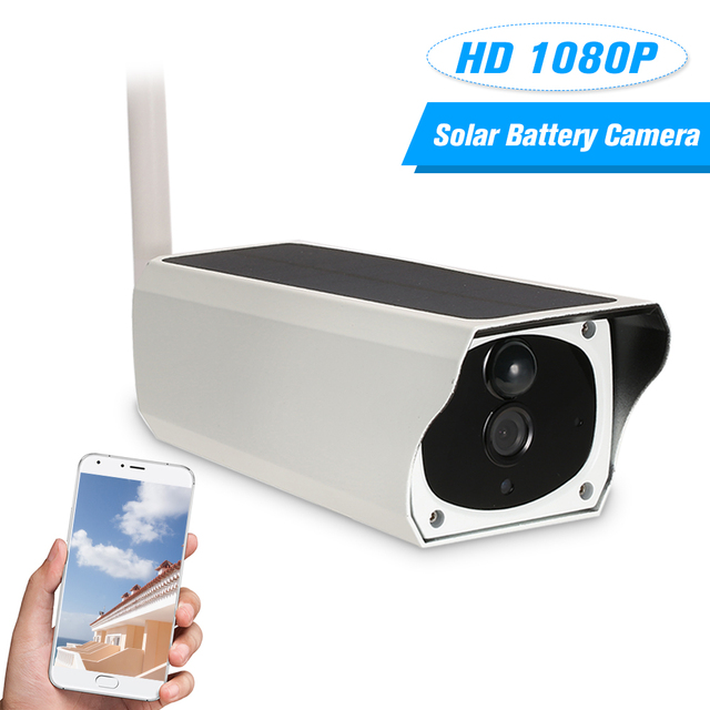 Wireless 1080P WiFi Solar Battery Power Bullet IP Camera PIR Motion Detection Android/iOS APP Remote Control IR-CUT Night Vision
