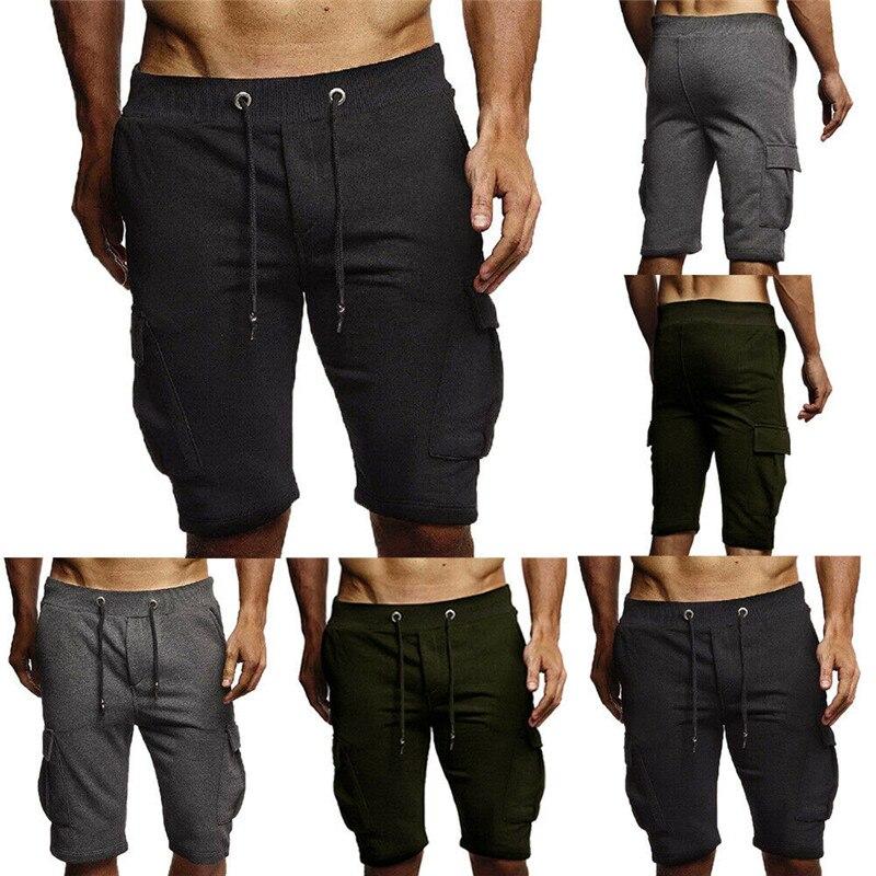 Summer Men's Shorts Sports Casual Elastic Band Zipper Solid Color Cotton Shorts Pocket Overalls