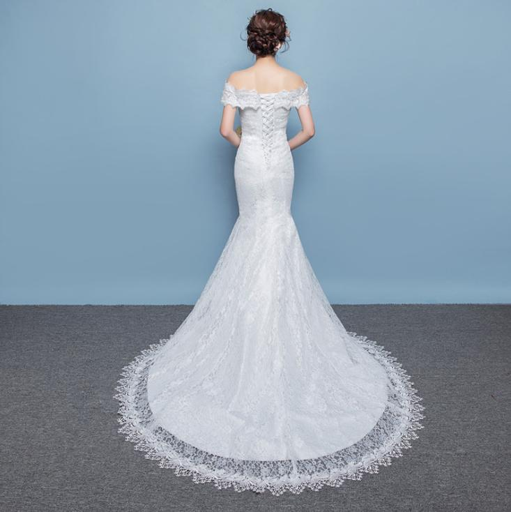 LASONCE V Neck Lace Appliques Sweep Train Mermaid Wedding Dresses Off The Shoulder Short Sleeve Backless Bridal Gowns in Wedding Dresses from Weddings Events