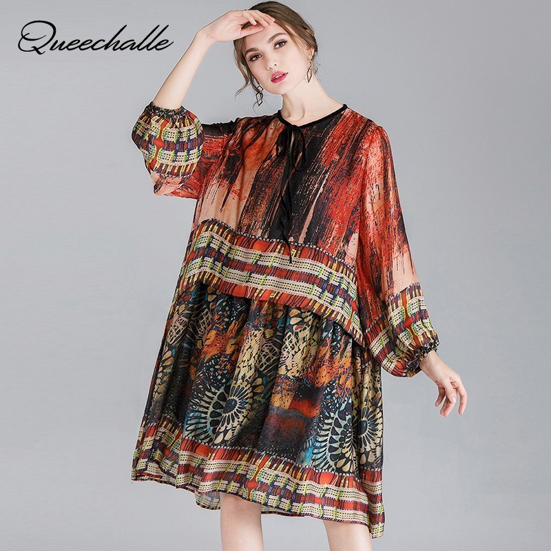 2019 Spring XL 4XL Plus Size Silk Yarn Dress Elegant Lace Up Collar Loose Dresses for