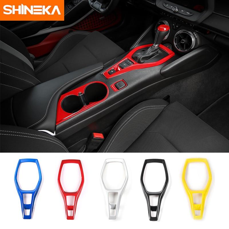 SHINEKA coche estilismo ABS Panel de engranajes cubierta decorativa Marco de cinta adhesiva kit para Chevrolet Camaro 2017 + accesorios interiores