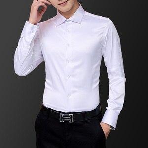 Image 5 - 한국어 패션 스타일 남자 셔츠 웨딩 드레스 긴 소매 빈티지 셔츠 실크 턱시도 탑 Chemise 남성면 셔츠 화이트