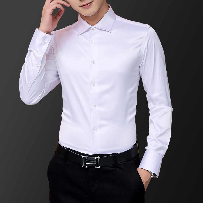 Koreański styl mody koszula męska suknia ślubna z długim rękawem koszula Vintage jedwabiu Tuxedo Top koszulka męskie bawełniane koszula biały