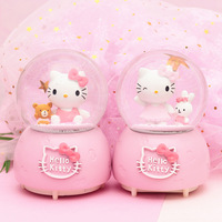 Hello Kitty Automatic Snow with Lights Luminous Crystal Ball Music Box Creative Children's Gift Home Decor Musical Box Christmas