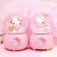 Hello Kitty Automatic Snow with Lights Luminous Crystal Ball Music Box Creative Children's Gift Home Decor Musical Box Christmas