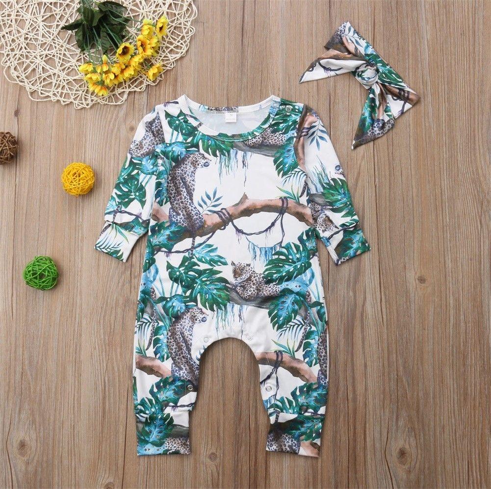 0-6M Newborn Baby Kids Girls Floral Romper Bodysuit Jumpsuit Outfits Set Clothes