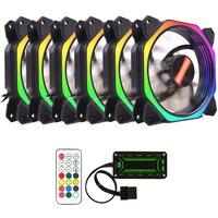 6 pcs Computer Case PC Cooling Fan RGB Adjust LED 120mm Quiet + IR Remote Cooler Cooling RGB Case Fan CPU for Desktop PC