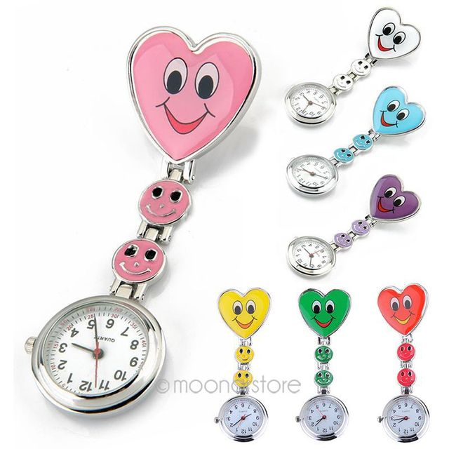 Crystal Women's Cute Watch Smiling Faces Heart Clip-On Pendant Nurse Fob Brooch