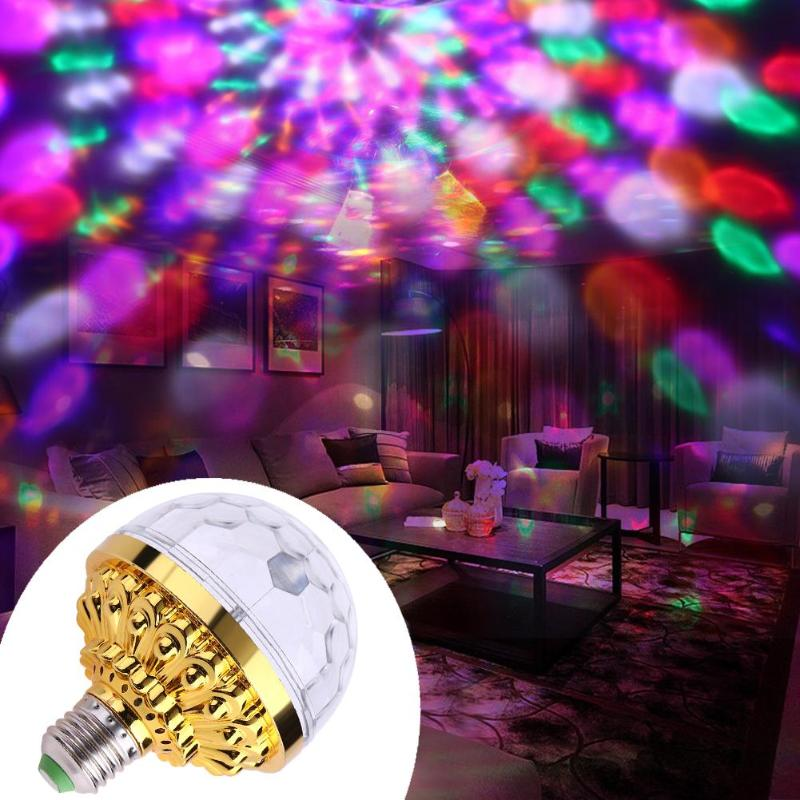 New 6W Rotating Crystal Magic Ball RGB LED Stage Light Bulb E27 Lamp for Disco Party DJ Christmas Effect Light festival e27 3w 110v 220v led stage light christmas colorful auto rotating rgb bulb party effect lamp disco magic ball eu plug