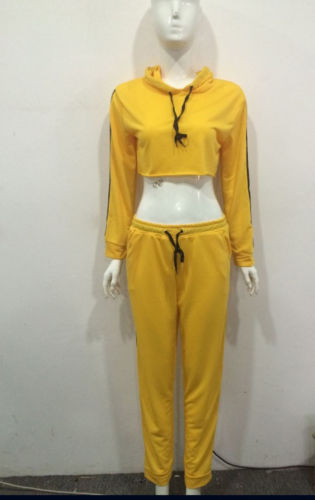 Women Fahionable Sport Hoodies Sweatshirt Crop Tops Long Pants Set 2Pcs Spring And Autumn Yellow Tracksuit Sweat Suit