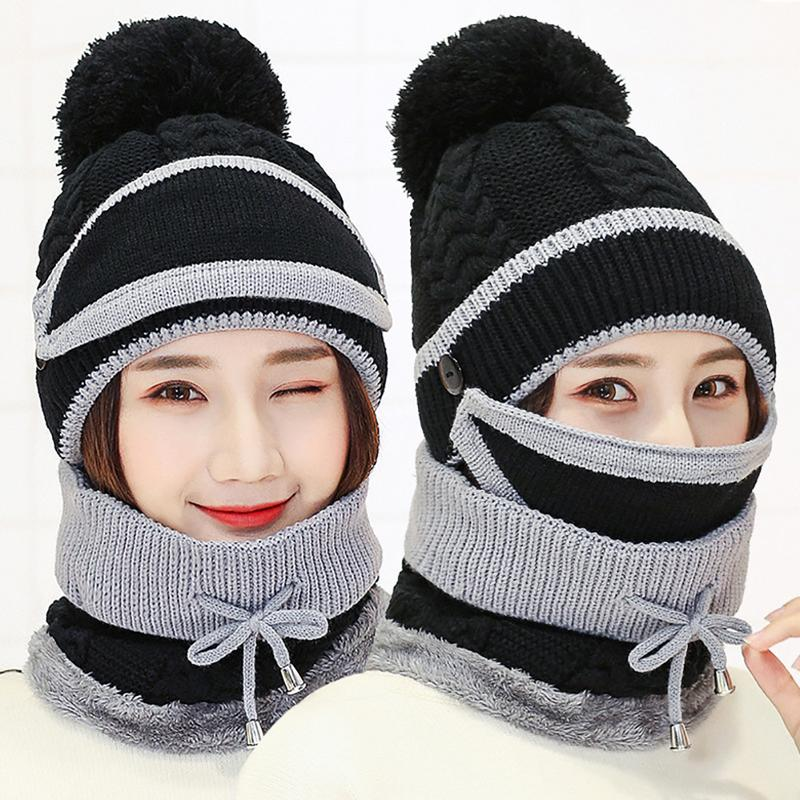 Women Autumn Winter Beanie Hat Scarf and Mask Set 3 Pieces Thick Warm Knit Cap For Women Comfortable Soft Neck Warmer