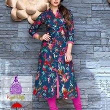 Индийская Пакистанская одежда, традиционная хлопковая Курта Болливуд, дизайнерская Стильная туника, топ с цифровым принтом, платье, повседневная одежда для вечеринок